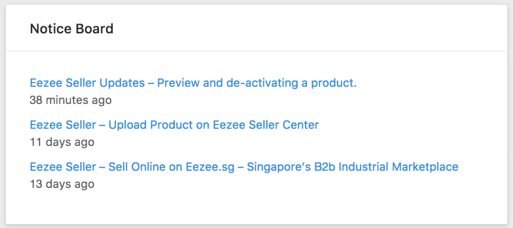 Eezee Seller Center Notice Board
